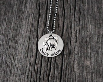 Baby Mine Disney inspired Dumbo hand stamped necklace / elephant / mom and baby