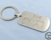 Children Drawing Engrave on Stainless Steel Army Tag Necklace/Keyring