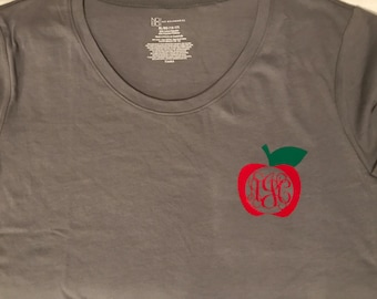 Teacher Apple Monogram