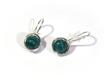 Malachite earrings wire wrapping