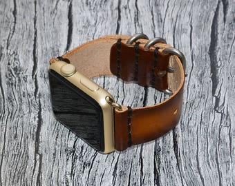 Brown Genuine leather apple watch band 38mm / 42mm // apple watch strap accessories - lugs adapter - iwatch band gold - iwatch strap