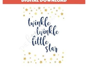 Twinkle Twinkle Little Star - Nursery Print - Baby Shower Print - Twinkle Twinkle Sign - Digital Download - Little Star Art