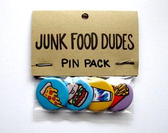 Junk Food Dudes Pins