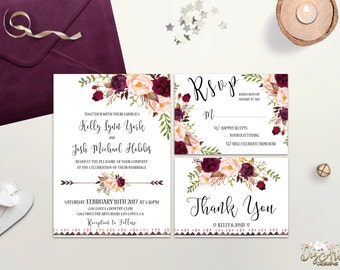 Boho Wedding Invitation Printable Floral Wedding Invite Burgundy Blush Wedding Invitation Suite Rustic Wedding Invite Bohemian Wedding DIY