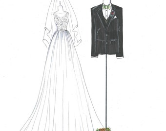 Custom Bridal Gown Illustration with Groom's Jacket