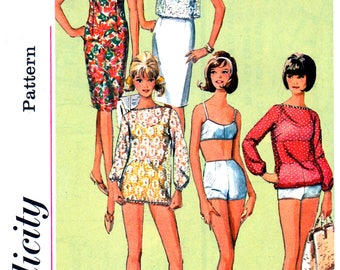 60s Simplicity 5978 Sheath Dress, Retro Bikini and Sheer Cover Up Tops, Uncut, Factory Folded, Vintage Sewing Pattern Size 12 Bust 32