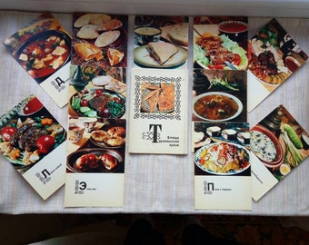 Turkmenian meals recipes cards / food photography / restaurant decor / Central Asia kitchen / collectible cards / gift for cook