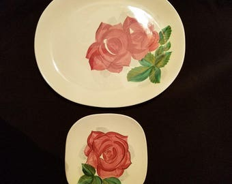 RED WING ROSE China Lexington Concord Pink Rose Salad Bread Dessert Dinner Platter Ivory