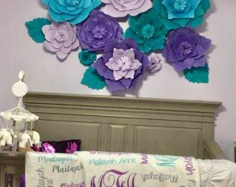 Large Paper Flowers ,set of 10 flowers !!, decorations , nursery , babyshower, events, backdrop , cusomize colors, styles and sizes