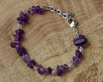 Amethyst Bracelet ~ Purple Stone Bracelet ~ Natural Amethyst  ~ Boho Bracelet ~ February Birthstone ~ Gift for Mom ~ Bohemian Jewelry