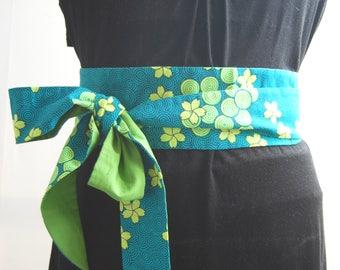 Obi belt fabric coloured flowers green japanese belt