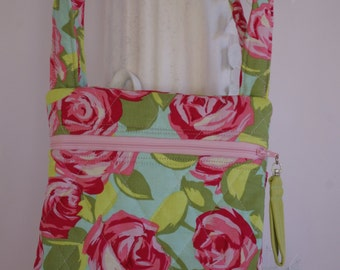 Cross body shoulder bag quilted purse Amy Butler Tumble Roses pink aqua green