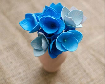 Sky Blue Foam Flowers 6 pcs Mixed Flower Jewelery making Supplies Miniature Flowers