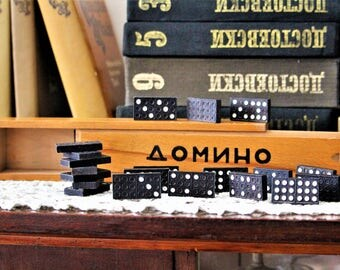 Vintage Black Dominoes - Rare Domino Game with 56 Pieces - Family Game - Vintage Game - Board Game - Domino Set - Wooden Dominoes