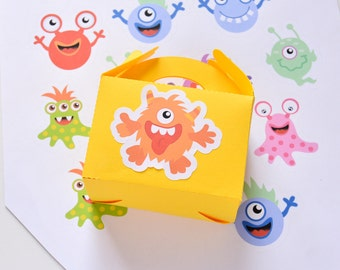 Monster Stickers Party Favors, Monster Birthday Baby Shower Stickers, Monster Party Decor, Monster Box Stickers, Monster Supplies