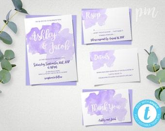 Watercolor Lavender Wedding Invitation Template Set, Purple Watercolor Invitations, Printable Invitation, Instant Download, Easy to Edit