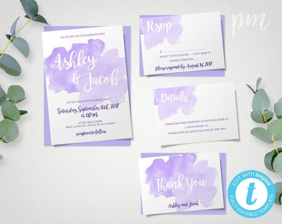 Watercolor Lavender Wedding Invitation Template Set Purple