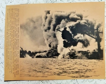 Clearance price - Pearl Harbor AP Press Photo with COA - Day of Infamy! USS Arizona spews smoke and flame into sky Dec 7 1941