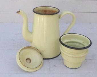 Pale Yellow & Black French Enamelware Biggin Coffee Pot, Enamel Kitchen Utensil Storage, Shabby Chic Modern Farmhouse Decor Vase