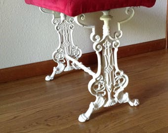 Antique Cast Iron Bench, Vintage, Upholstery Bench, Painted Bench, Hall Bench, Vanity Stool