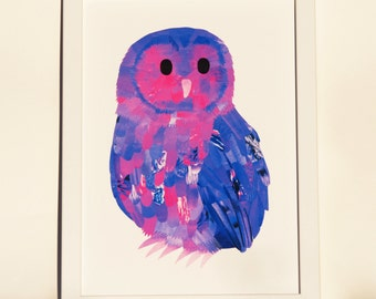 Owl collage art, Custom colours, Unique owl wall art, Nursery animal print, Owl bird lover art, Cute childrens wall art, Bright animal print