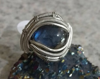 Wire Wrapped Eye Labradorite Ring, Size 8