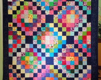 Modern Twin Quilt, Patchwork Rainbow Quilt, Contemporary Quilt, Teen Girl or Woman's Quilt, Throw Quilt, Christmas Gift