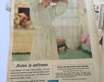 Lot of Vintage 1960s Woman's Feminine Hygiene - Advertising - 1960s Ads - Vintage Marketing Ads - Vintage Magazine Ads