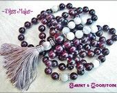 Mala Beads 108, Knotted Mala, Meditation, Japa, Yoga Beads, Prayer Beads, Garnet, Rainbow Moonstone, Red, White, Energize, Root Chakra, Love