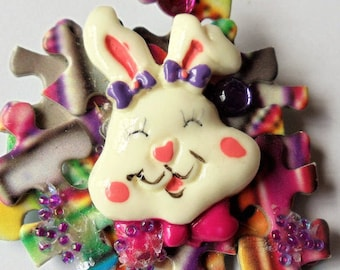 Vintage Handmade Jigsaw Puzzle Easter Bunnies Pins (Set of 2), Cute Easter Funny Bunny/Rabbit 2 Extra Large Easter Pins, Easter Holiday Gift