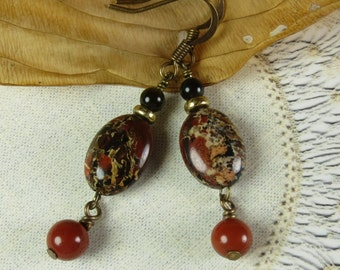Red and Black Jasper earrings