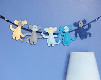 Monkey Nursery Garland, Felt Kids Bedroom Decor, Baby Boys Wall Hanging, Cot Wall, Blue Monkeys, Modern Child Room, Felt Animals, Home