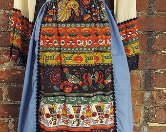 Jim N' Me 1970's Apron Front Tie Dress