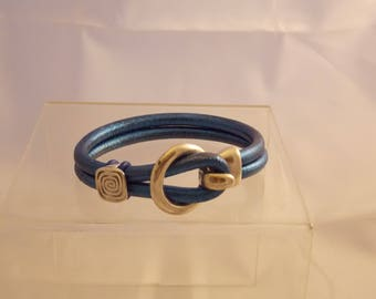Electric Blue Leather Bracelet 7 1/4 inches long