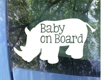 Baby on Board Rhino Window Decal - Car Decal - New Baby - Baby Shower Gift - Baby on board Sticker - Rhino Decal - Animal Sticker - Rhino