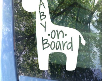 Baby on Board Giraffe Decal | Car Decal | New Baby | Baby Shower Gift | Baby on board Sticker | Giraffe Decal | Animal Sticker | Baby Gift