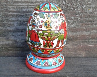 Hand Painted Easter egg, wooden egg decorated russian ornaments.Easter gift.Russian folk art.
