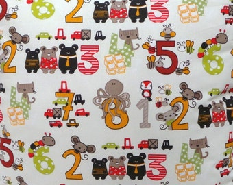 Kids Boys  numbers octopus and multi animal red, orange, green beige Fabric by the metre
