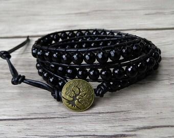 Black Agate beads Bracelet Faceted Beads Bracelet Leather Wrap Bracelet Boho Wrap Bracelet Black Men Bracelet Gift For Men SL-0201