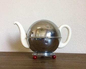 Vintage Waechtersbach Teapot with Metal Keephot Cozy; Insulated Teapot; Art Deco Teapot; Vintage Teapot; Ceramic Teapot; Metal Teapot Cosy