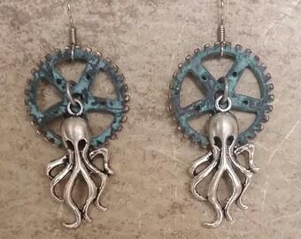 Octopus Steampunk Earrings, Octopus Earrings,  Blue Earrings, Kraken Earrings, Steampunk Earrings, Industrial Jewelry, Beach Earrings,