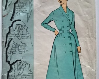 Fabulous 50's French vintage sewing pattern : Maternity dress woman  size 16  taille 44 Patrons Modeles 58085