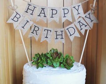 Happy Birthday Cake Topper, Birthday Party Cake Topper, Birthday Cake Topper,  Rustic Cake Topper, Burlap Cake Topper, Happy Birthday Topper