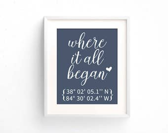 Where It All Began | Valentines Day Gift for Him | Where We Met Location Print | Bridal Shower Wedding Gift for Couple | Latitude Longitude