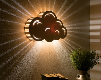 Cloud Night Light - Wall Hanging Baby & Kid's Room Lamp - Nature Decor - Wooden Lasercut Accent Lighting - Laser Cut Nightlight