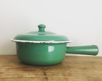 French Vintage Emerald Green Enamel Saucepan & Lid