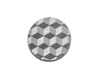 4 Round Coasters Yellow Gray Coasters Geometric Coasters Modern Retro Coasters Grey Art Deco Coasters Birthday Gift for Him Retro Gift him