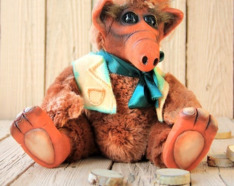 Alf stuffed animal, alf plush,handmade toys, soft toys, ALF 80's,stuffed animal,amigurumi plush, cat stuffed animal for kids room decor