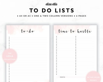 TO DO LISTS / To Do List Printable / 2018 Planner / Printable To Do Lists / To Do List / To Do / The Lola Planners in Peony / 415