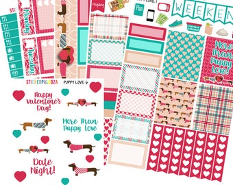 Anniversary Weekly Kit, Honeymoon Planner Stickers, Dachshund Planner Sticker Kit